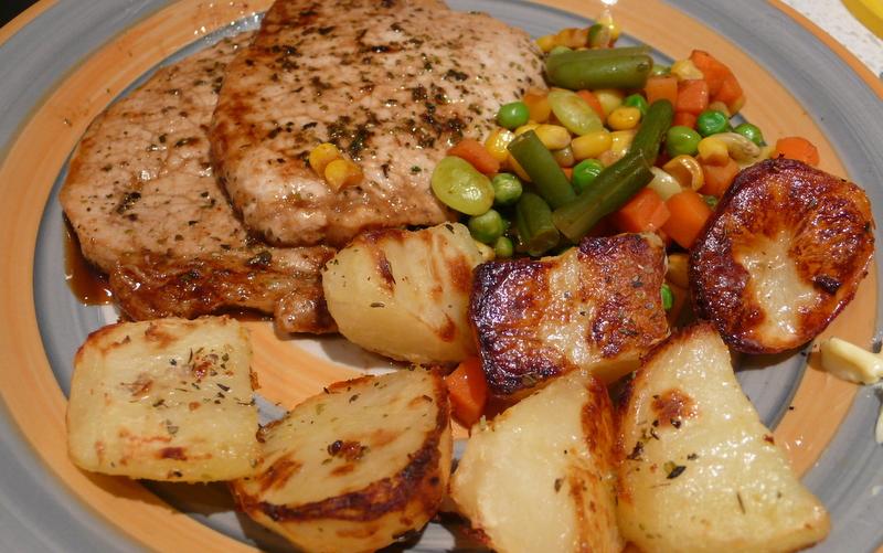 Pork Chops with Roast Potatoes